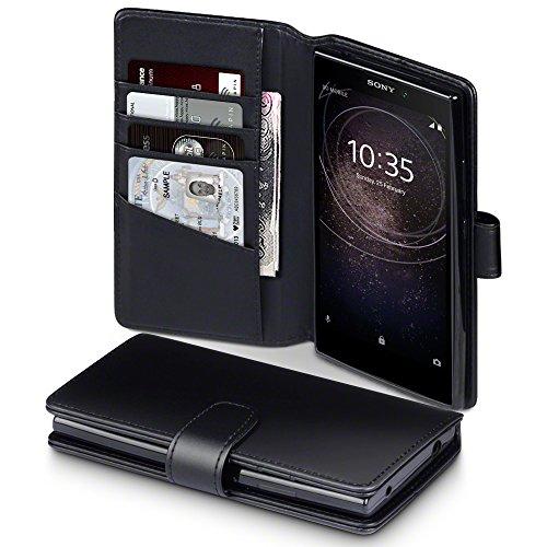 Terrapin, Kompatibel mit Sony Xperia L2 Hülle, [ECHT LEDER] Brieftasche Case Tasche mit Standfunktion Kartenfächer und Bargeld - Schwarz EINWEG