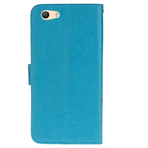 Für OPPO A59 Case Embossing Tree & Cat Pattern Soft PU Leder Schutzhülle Fall mit Lanyard & Kickstand & Kartenhalter & Cash Slots ( Color : Gray ) Blue