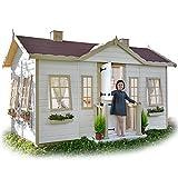 GREEN HOUSE - Kinderspielhaus aus Holz für den Garten mit großen Fenstern, Vordach und Bett im Innenraum VICTORIA