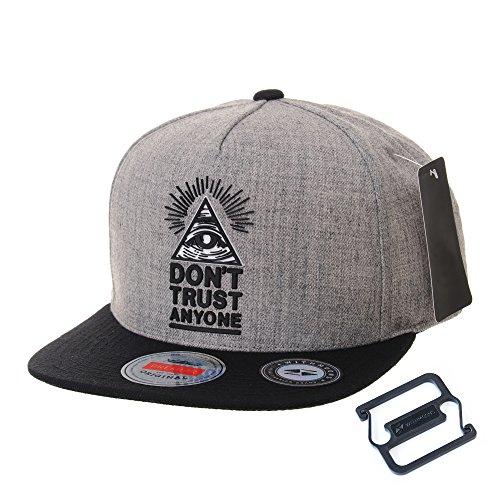 WITHMOONS Baseballmütze Mützen Caps Kappe Snapback Hat Illuminati Patch Hip Hop Baseball Cap AL2390 (Grey) - Obey-mütze