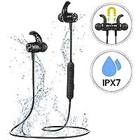 Mpow S10 Auriculares Bluetooth,IPX7 Inalámbrico Magnético In Ear Incorporado Estéreo de Alta Fidelidad CVC 6.0 Micrófono con Cancelación de Ruido para Deportes,Gimnasio,Viajes para iPhone Android