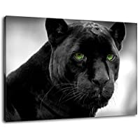Black panther with green eyes Size: 60x40 cm covered painting on canvas, huge XXL images completely finished and framed with stretcher, Art print on wall picture with frame, cheaper than painting or picture, no posters or poster