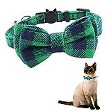 YCZ Quick Release Cat kraag met Bell en vlinderdas, schattige geruite patronen, geschikt voor kat en puppies, verstelbaar van 7,8-10,5 inch (groen)