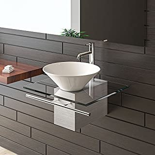 Alpenberger Badmöbel aus Glas/Waschplatz / Waschtische für Ihr exklusives Bad Badezimmer/Designer Waschtisch/Serie 120 / Keramik - Klarglas/Waschplatz