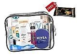 Set di 13 pezzi per donna prodotti di marca per la cura della persona essenziali da viaggio, Set da viaggio approvato per cabina, travel kit