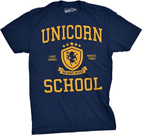 ns Unicorn School Funny College Parody University Varsity Unicornus T Shirt (Navy) M - Herren - M (Varsity T-stücke)