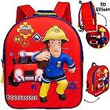 alles-meine.de GmbH 3D Effekt - Kinder Rucksack - Feuerwehrmann Sam Jones - Tasche - wasserfest & beschichtet - Kinderrucksack / groß Kind - Jungen - z.B. für Kindergarten / Vors..