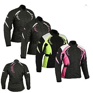 Women Motorbike Jacket - Ladies Motorcycle Armored Textile Cordura Waterproof Jacket Coat - Black With Pink Flower -XL