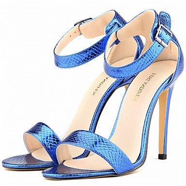 LQXZM Chaussures femmes talon aiguille talons similicuir / Open Toe Sandales Partie &AMP; Soirée / Robe / CasualBlack / bleu / violet / Blue