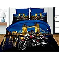 Rojo motocicleta London Bridge 3d–Juego de cama de 4pcs + fundas de almohada de 50x 75cm + soporte de hoja