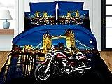 Rot Motorrad London Bridge 3D Premium Bettwäsche Set Einzelbett Größe 4PCS + Kissenbezüge 50x 75cm + Bettlaken