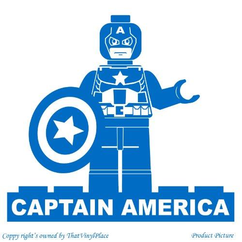 Lego, Legos, Lego-Figur, Lego, Fihures Lego Menschen, Menschen, Lego-Spiel Motiv: Name, personalisiert, Name, Firma Sticher Stichers, Captain America (60 cm x 54 cm) Farbe blau, das Badezimmer, Kinderzimmer, Kinder, Kinderzimmer, Wandtattoo, Vinyl, Fenster und Auto Wandtattoo/Aufkleber, Wand Windows-Art ThatVinylPlace Wandtattoo,