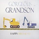 White Cotton Cards N97 Rango de neón excavadores, diseño con Texto de cumpleaños para Nieto Hecho a Mano para niños cumpleaños con Texto en inglés