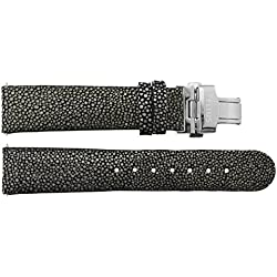 Watch Strap in Black Galuchat - 22 - - buckle in Silver stainless steel - B22014