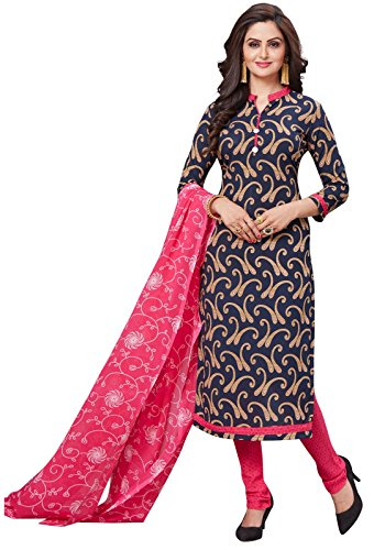 ishin Women's Synthetic Printed Anarkali and Patiyala Unstitched Salwar Suit Dress Material with Dupatta(Drmtlamb-2104_Navy Blue and Pink_Free Size)