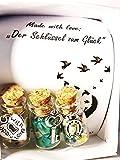 Bastel Set ❤ Schmuck Anhänger Mwl: Der Schlüssel zum Glück  DIY-Kit (3er Set). Giny´s Jar Art Flaschenpost Freundschafts-Anhänger - Amazonit