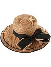 TININNA Mujer Elegante Lazo Floppy Sombrero de Paja para el sol Gorra de  Playa de Verano 91a849d0e3d