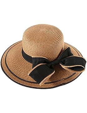 TININNA Mujer Elegante Lazo Floppy Sombrero de Paja para el sol Gorra de Playa de Verano Sun Visor gorro para...