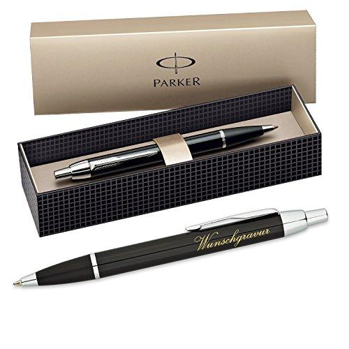 polar-effekt Parker IM Kugelschreiber mit Gravur - Farbe schwarz - Großraummine blauschreibend mit Geschenk-Etui - Druckkugelschreiber Geschenk-Idee zum Geburtstag