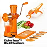 Kitchen Bazaar Elite Plastic Manual Citrus Juicer Set, Set of 3, Orange