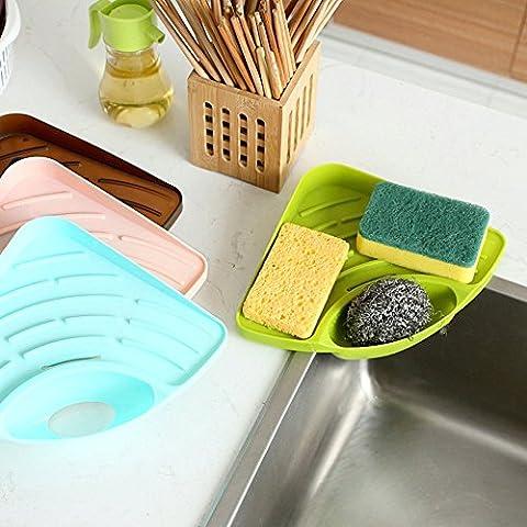 Generic Light Bluee: Saugnapf Küche Spüle Ecke Aufbewahrung Rack Seife Schwamm Halter Wand montiert Badezimmer Küche Sucker, Werkzeug