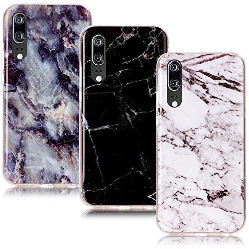 CLM-Tech kompatibel mit Huawei P20 Hülle 3X, TPU Gummi Case Silikonhülle 3er Set, Marmor Muster schwarz weiß Mehrfarbig -