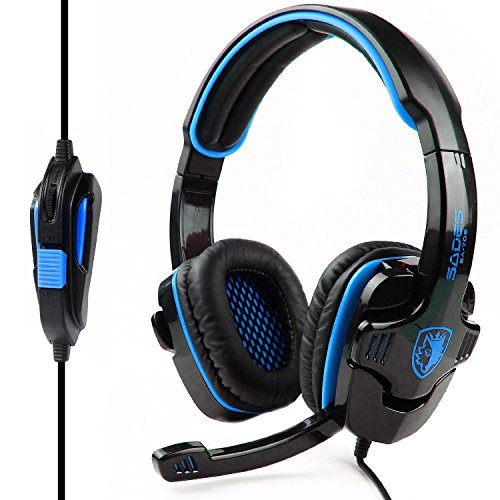 Sades SA 708 Stereo Gaming headsets with Foldable Mic  Black/Blue  PC Game Headsets