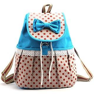 Ama-ZODE Frauen-Mädchen-Spitze-Bogen-Nette Dots Rucksack Tasche Schultasche Tote Handtasche Campus Bookbag (Blue)