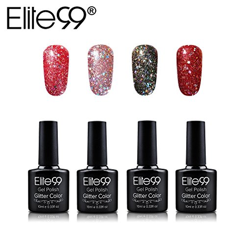 Vernis Semi Permanent Elite99 Lot de 4pcs Vernis à Ongles Gel UV LED Glitter Kit de Manucure Semi Permanent Soakoff Nail Art - 009