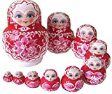 ANKKO 10 Stück Bemalte Holz Russische Matroschka Puppen Bemalte Puppen, Rot