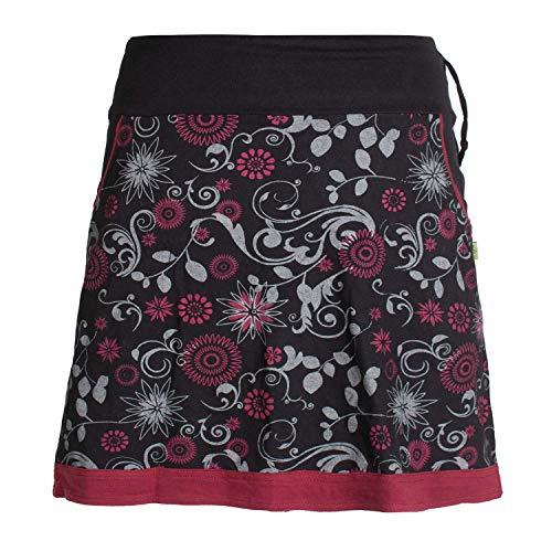 Vishes - Alternative Bekleidung - Damen Lagen-Look Blumen-Rock mit Mandalas und Tribals Bedruckt schwarz 42