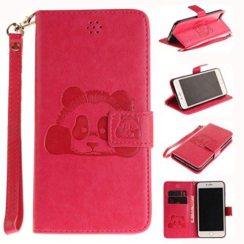 Leather Case Cover Custodia per iPhone 6 6S (4,7 Zoll) ,Ecoway Caso / copertura / telefono Panda goffratura Disegno retro della del modello PU con a Bookstyle tasche carte di credito funzione con inte rosa rosso
