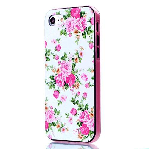 iPhone 8 Coque, Voguecase 2 in 1 TPU + PC avec Absorption de Choc, Etui Silicone Souple Transparent, Légère / Ajustement Parfait Coque Shell Housse Cover pour Apple iPhone 8 4.7 (Campanula bleu)+ Grat Rose chinoise