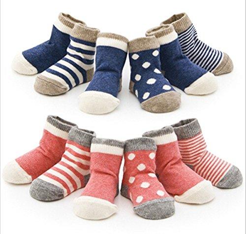 4 Paar Baby-Kind-neugeborenes Kind-Kleinkind -nette Socken aus Baumwolle (0 -6 Monate, Blau)
