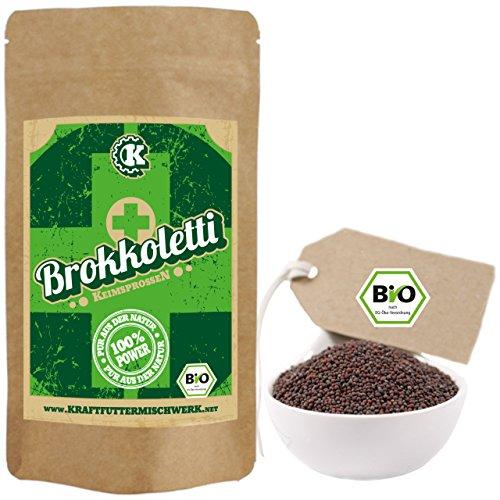Bio Keimsprossen Brokkoletti (Sorte Rabe) zum Keimen - 500g - verlässlich hoher Sulforaphangehalt - kurze Keimzeit - für leckere, vitalstoffreiche, frische Sprossen & Keimlinge