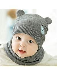 Singhi Sombrero de bebé Otoño Invierno Hilado de lana de punto Gorro de bebé Niñas Lindo oso Sombrero suave (bufanda no está incluida)