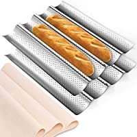 "2 Pack Nonstick Perforated Baguette Pan 15"" x 13"" Carbon Steel French Bread Baking Pan with Proofing Cloth 4 Wave Loaves Loaf Mold for Oven Toast Cooking"
