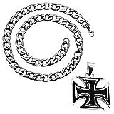 tumundo Panzerkette Halskette Mit Anhänger Edelstahl Königskette Herren-Kette Eisernes Kreuz Ø 7mm Thorhammer Totenkopf, Farbe:Modell 6-50cm