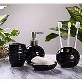 Mucihom 4 teilig Badzimmer Set Bad Accessoires Set aus Keramik, Seifenspender, Seifenschale, Zahnputzbecher, Zah