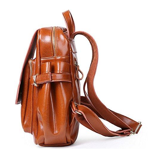 XinMaoYuan Autunno e Inverno borsette in cuoio di moda cera olio vacchetta donna borsa a tracolla Borsa da viaggio Scuola Wind zaino borsa donna,caffè Brown