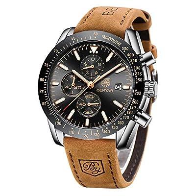 BENYAR - Elegante Reloj de Pulsera para Hombre, Correa de Piel auténtica, Movimiento de Cuarzo, Resistente al Agua y a los arañazos, cronógrafo analógico de Negocios, Hombre.