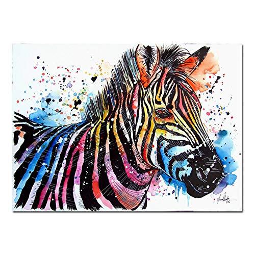 WZYWLH Tier Wand Leinwand Kunst Zebra Print Poster Kunst Für Wohnzimmer Leinwand Malerei Wohnkultur (Zebra-print-leinwand-wand-kunst)