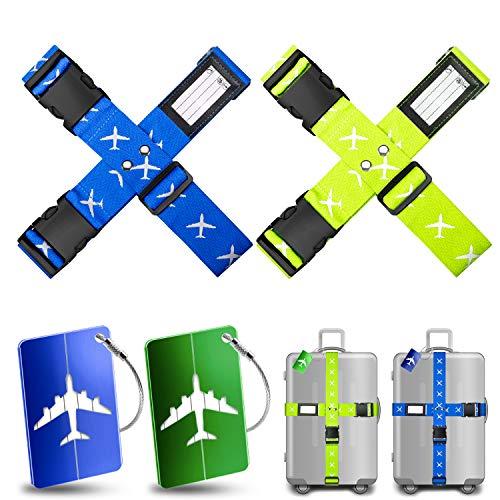 Koffergurt Koffer Yosemy 4 Stück Gepäckgurt Einstellbare Kofferband + 2 Stück Kofferanhänger, Kofferband Gepäckband zum Sicheren Verschließen der Koffers auf Reisen und Kennzeichnen von Gepäck