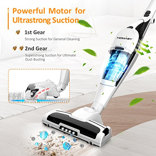 Homasy 2-in-1 Cordless Vacuum Cleaner, (Longer Run Time, High-power, Upright & Handheld) Lightweight Canister Stick Vac with Rechargeable Lithium-ion Battery, HEPA Filter, LED Headlights for Home, Pet Hair Cleaning, Car- White