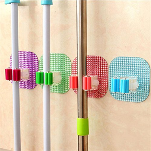 TAOtTAO 4PCS Wall Mounted Mop Organizer Holder Brush Broom Hanger Storage Rack Kitchen