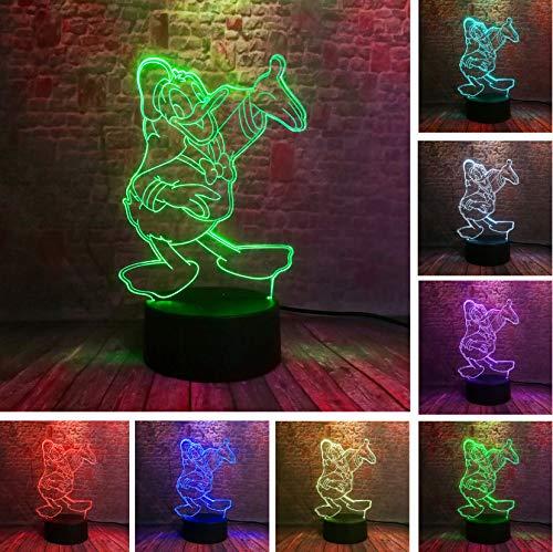 3D Mickey Minnie Tinkerbell Schneeflocke Daisy Donald Duck Night 7 Farben USB Hologramm Tischleuchte Baby Schlafen Dekor Spielzeug Geschenke 21x15x6cm (Party Duck Daisy Dekorationen)