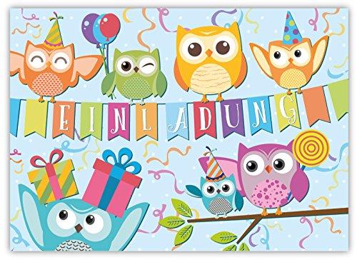 Preisvergleich Produktbild 12 Lustige Einladungskarten im Set für Kindergeburtstag Eule Party für Jungen Mädchen Kinder Top Geburtstagseinladungen Karten Eulen Luftballons Uhu witzig