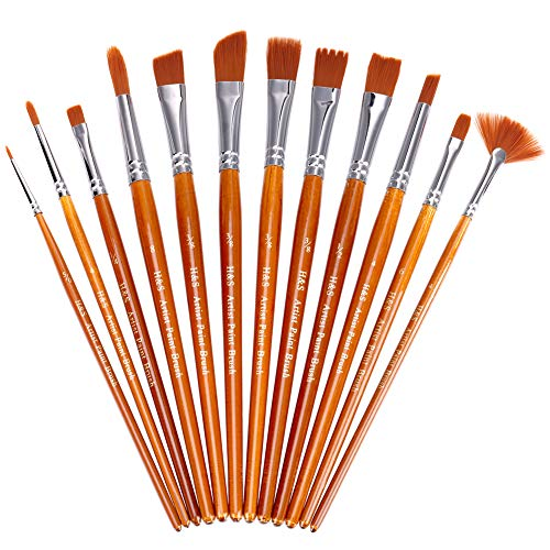 12x Nail Brush Artist Paint Brushes Set Acrylic Oil Water Colour Beauty Brush Diversified Latest Designs Crafts