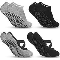 Zacro Calze da Yoga Antiscivolo Yoga Socks (4 Pairs) Fitness, Pilates, Barre, Balletto, Danza, Allenamento a Piedi Nudi Cadute Prevenzione Donna Calze - Black&Gray