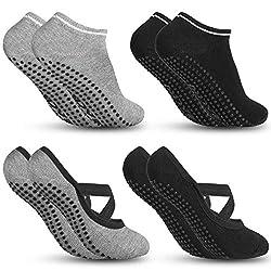Zacro Yoga Socken und Sportsocken Pilates Socken Ballett Socken Fußboden Socken mit antibakteriell und schweißabsorbierend geeignet für Frauen